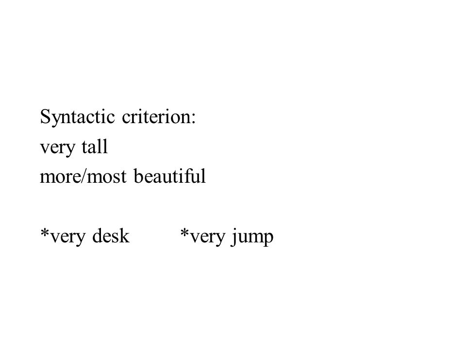 Syntactic criterion: very tall more/most beautiful *very desk*very jump