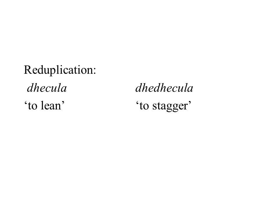 Reduplication: dheculadhedhecula 'to lean''to stagger'