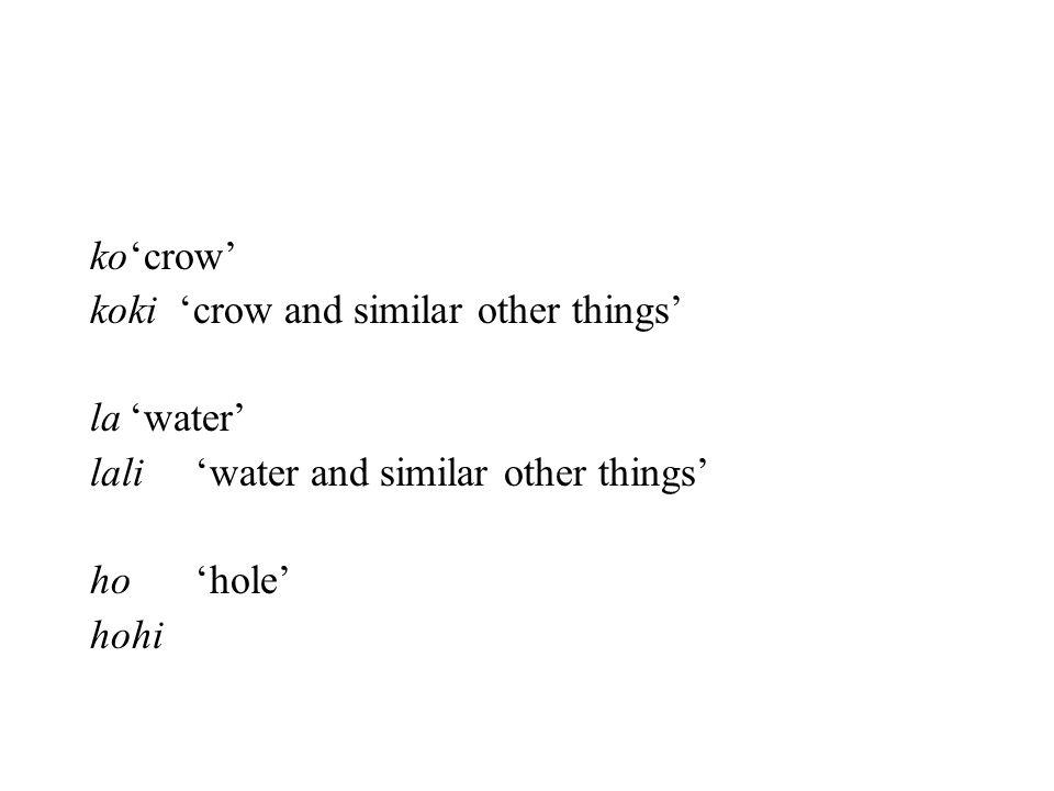 ko'crow' koki 'crow and similar other things' la'water' lali'water and similar other things' ho'hole' hohi