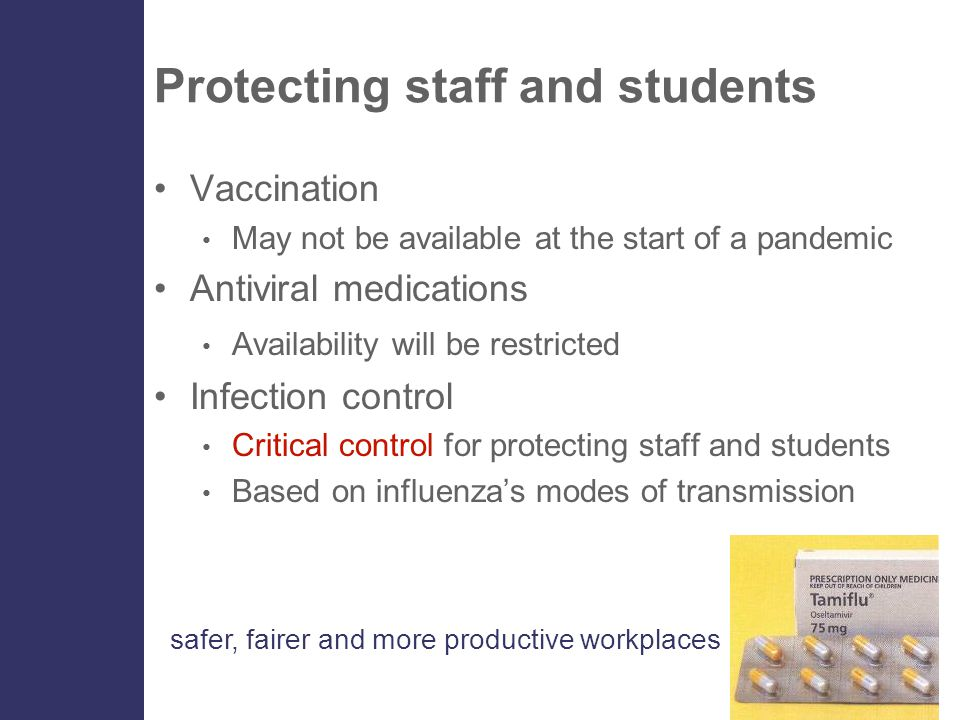 safer, fairer and more productive workplaces Protecting staff and students Vaccination May not be available at the start of a pandemic Antiviral medic