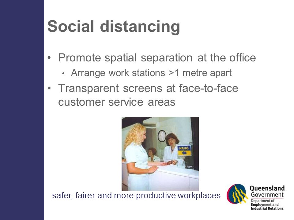 safer, fairer and more productive workplaces Social distancing Promote spatial separation at the office Arrange work stations >1 metre apart Transpare