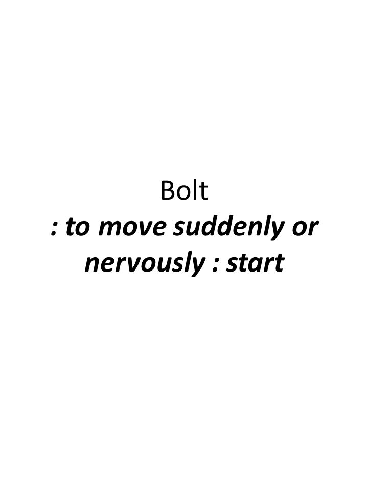 Bolt : to move suddenly or nervously : start