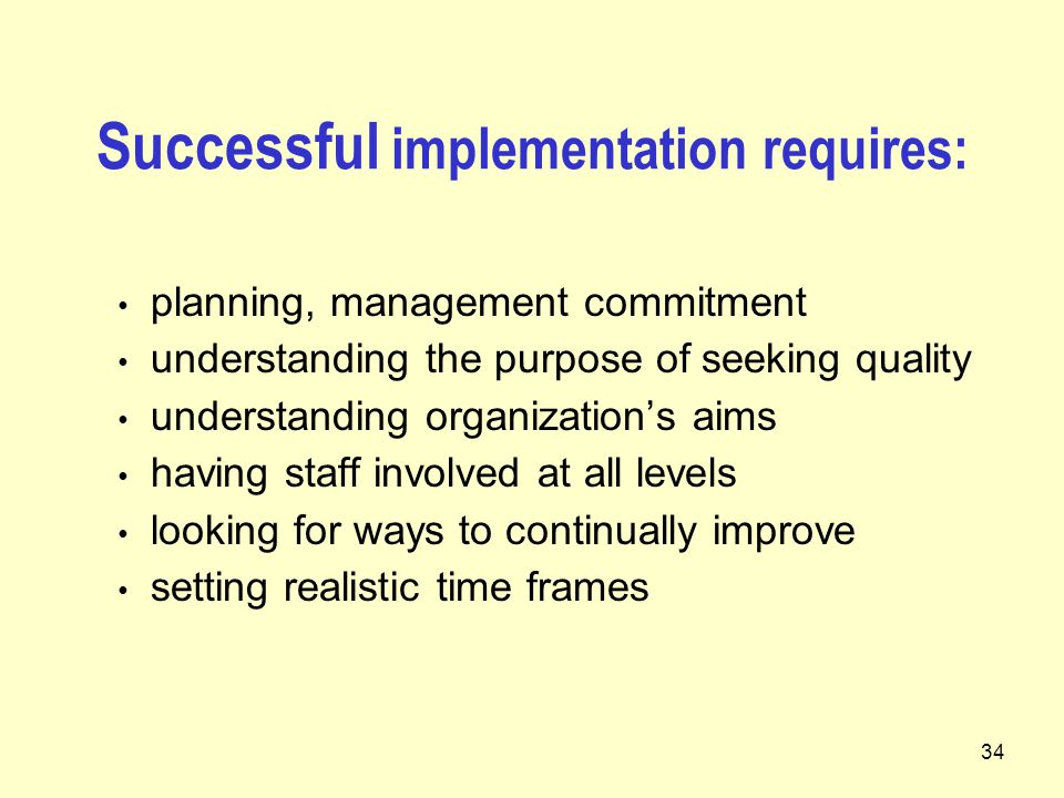 34 Successful implementation requires: planning, management commitment understanding the purpose of seeking quality understanding organization's aims having staff involved at all levels looking for ways to continually improve setting realistic time frames