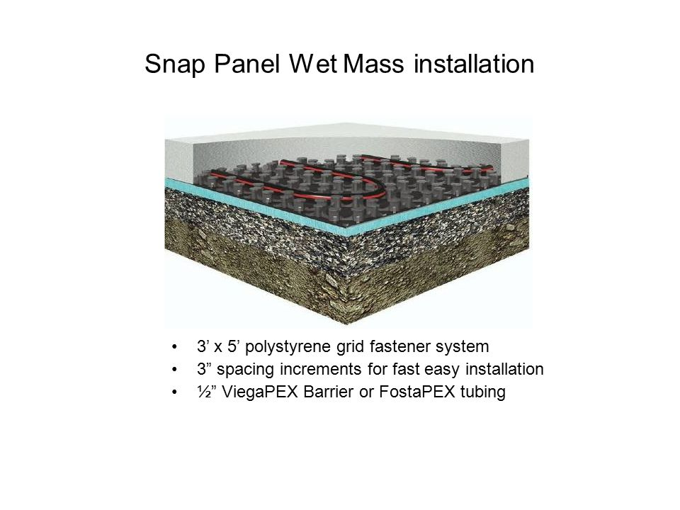 "Snap Panel Wet Mass installation 3' x 5' polystyrene grid fastener system 3"" spacing increments for fast easy installation ½"" ViegaPEX Barrier or Fost"