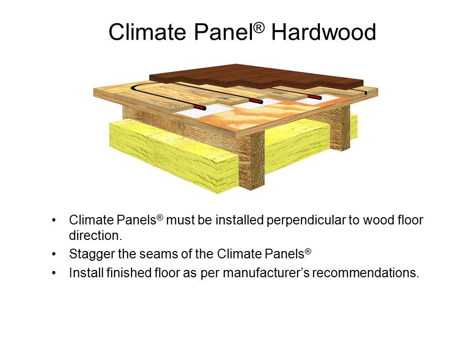 Climate Panel ® Hardwood Climate Panels ® must be installed perpendicular to wood floor direction.