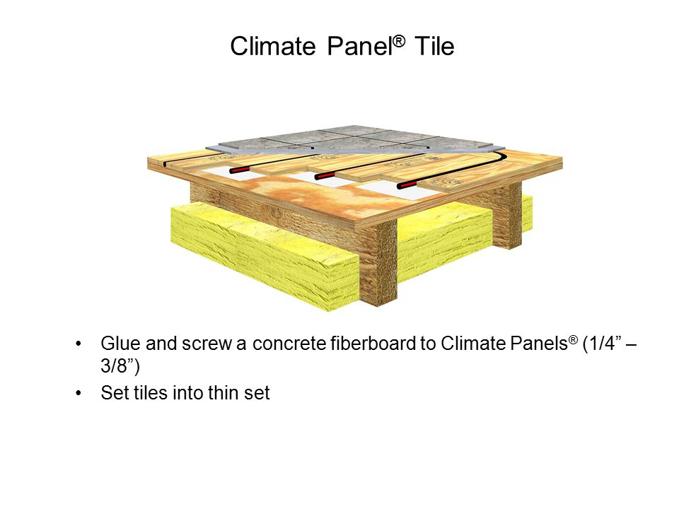 Climate Panel ® Tile Glue and screw a concrete fiberboard to Climate Panels ® (1/4 – 3/8 ) Set tiles into thin set
