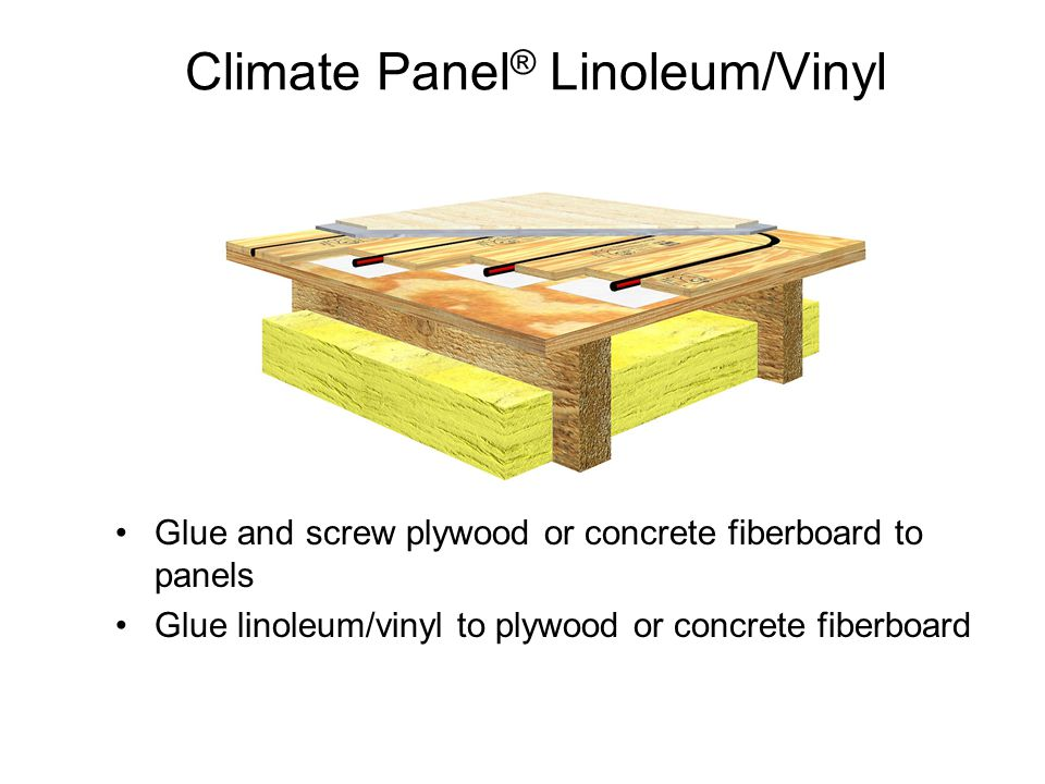 Climate Panel ® Linoleum/Vinyl Glue and screw plywood or concrete fiberboard to panels Glue linoleum/vinyl to plywood or concrete fiberboard