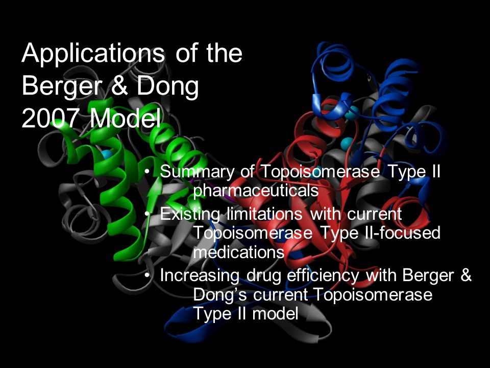 Applications of the Berger & Dong 2007 Model Summary of Topoisomerase Type II pharmaceuticals Existing limitations with current Topoisomerase Type II-