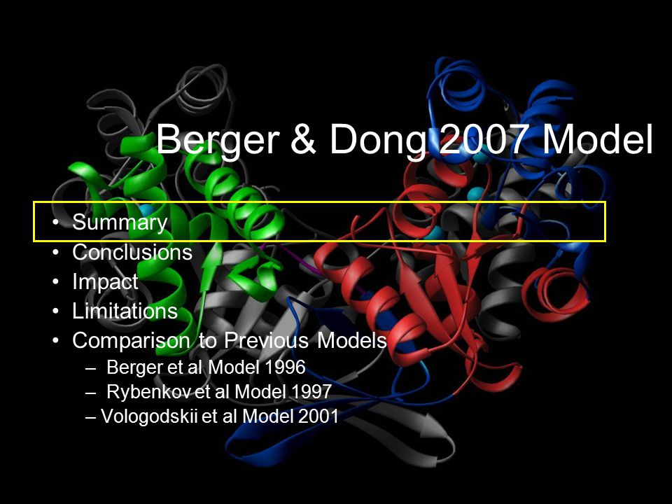 Berger and Dong 2007 Model Summary The molecular understanding of DNA binding to Topo II was examined Crystallization of the Topo II-DNA complex was performed Crystallography determines the arrangement of atoms in solids