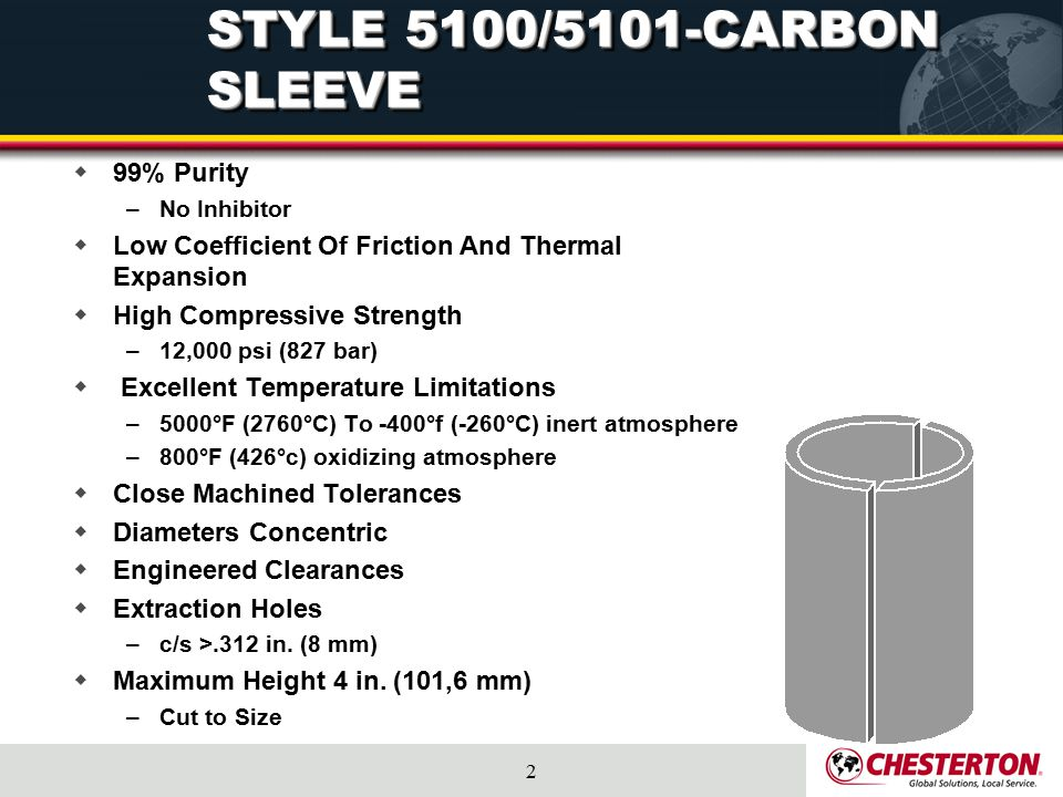 2 STYLE 5100/5101-CARBON SLEEVE  99% Purity –No Inhibitor  Low Coefficient Of Friction And Thermal Expansion  High Compressive Strength –12,000 psi
