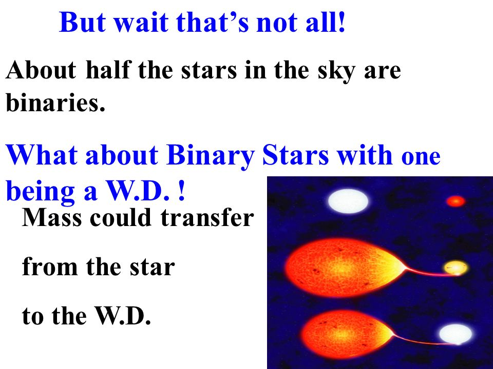 About half the stars in the sky are binaries. What about Binary Stars with one being a W.D. ! Mass could transfer from the star to the W.D. But wait t