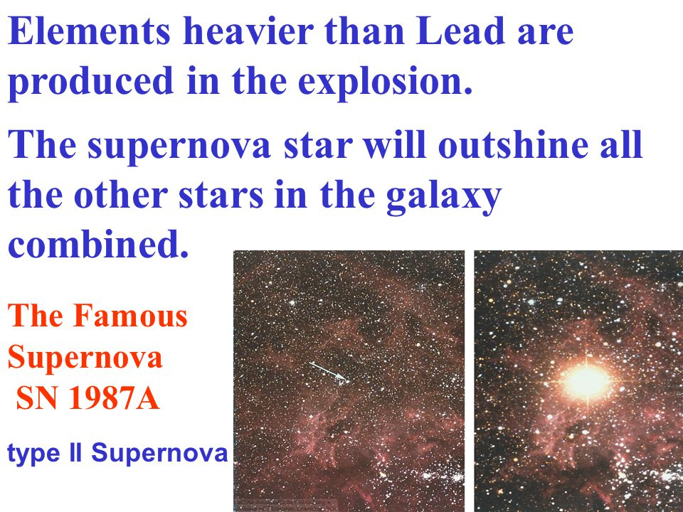 The supernova star will outshine all the other stars in the galaxy combined. Elements heavier than Lead are produced in the explosion. The Famous Supe