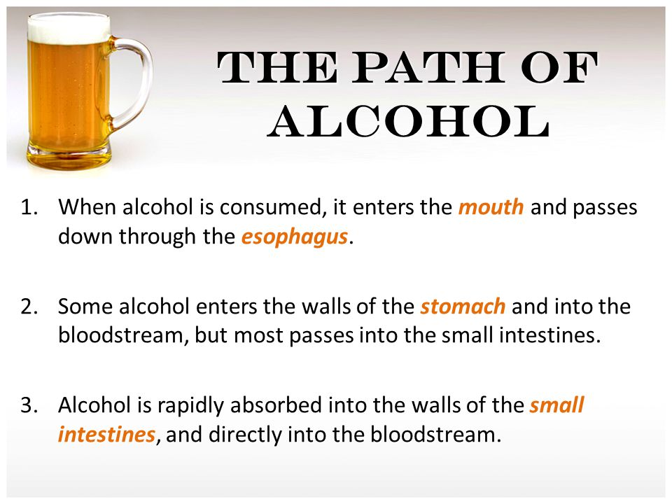 THE PATH OF ALCOHOL 1.When alcohol is consumed, it enters the mouth and passes down through the esophagus.