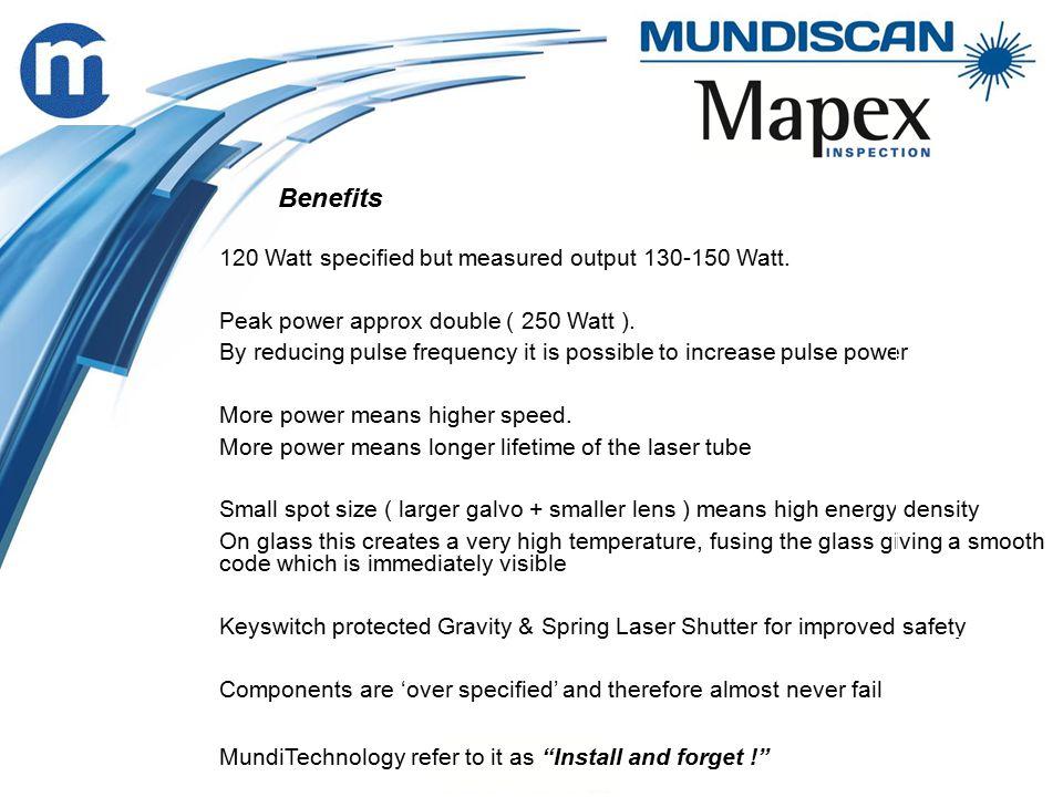 120 Watt specified but measured output 130-150 Watt.