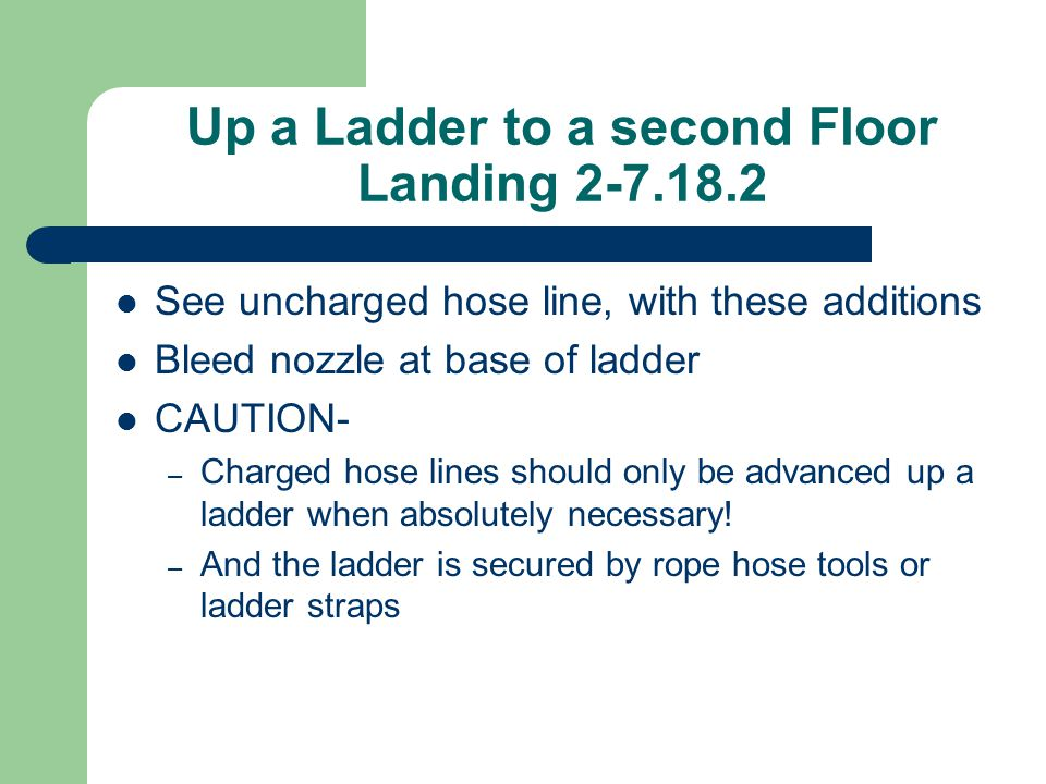 Up a Ladder to a second Floor Landing 2-7.18.2 See uncharged hose line, with these additions Bleed nozzle at base of ladder CAUTION- – Charged hose li