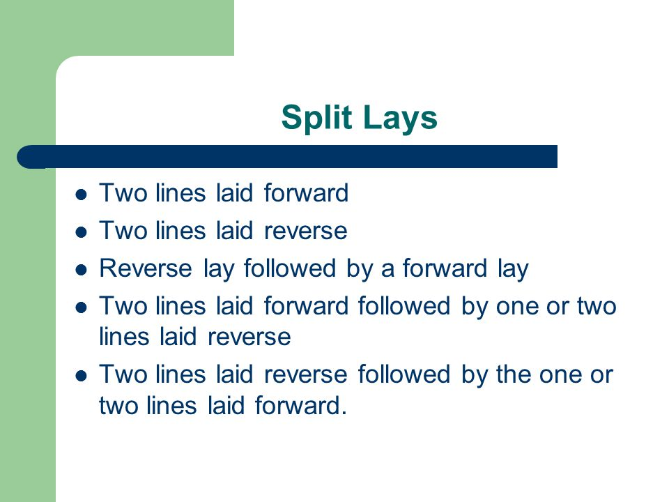 Split Lays Two lines laid forward Two lines laid reverse Reverse lay followed by a forward lay Two lines laid forward followed by one or two lines lai