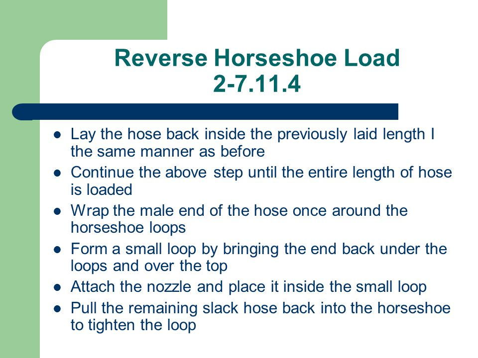 Reverse Horseshoe Load 2-7.11.4 Lay the hose back inside the previously laid length I the same manner as before Continue the above step until the enti