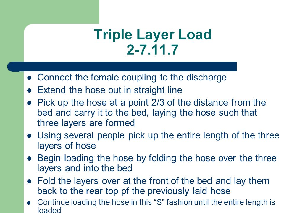 Triple Layer Load 2-7.11.7 Connect the female coupling to the discharge Extend the hose out in straight line Pick up the hose at a point 2/3 of the di
