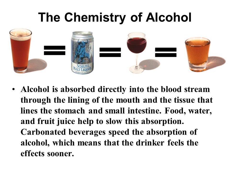 The Chemistry of Alcohol Alcohol is absorbed directly into the blood stream through the lining of the mouth and the tissue that lines the stomach and small intestine.