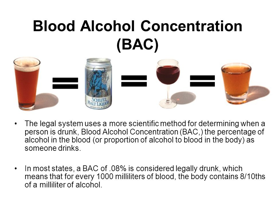 Blood Alcohol Concentration (BAC) The legal system uses a more scientific method for determining when a person is drunk, Blood Alcohol Concentration (BAC,) the percentage of alcohol in the blood (or proportion of alcohol to blood in the body) as someone drinks.