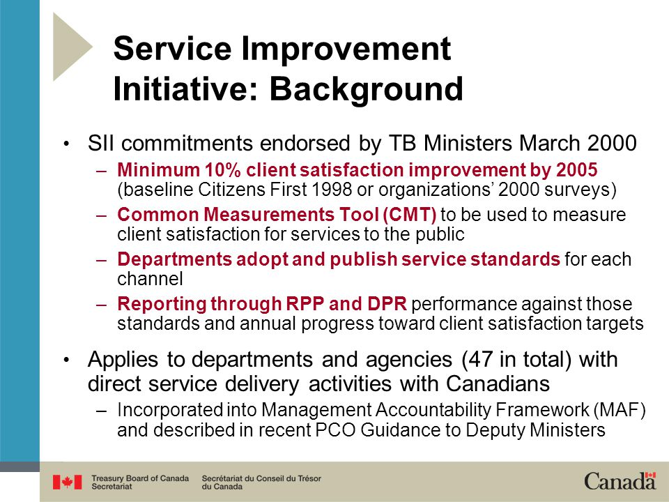 Service Improvement Initiative: Background SII commitments endorsed by TB Ministers March 2000 –Minimum 10% client satisfaction improvement by 2005 (baseline Citizens First 1998 or organizations' 2000 surveys) –Common Measurements Tool (CMT) to be used to measure client satisfaction for services to the public –Departments adopt and publish service standards for each channel –Reporting through RPP and DPR performance against those standards and annual progress toward client satisfaction targets Applies to departments and agencies (47 in total) with direct service delivery activities with Canadians –Incorporated into Management Accountability Framework (MAF) and described in recent PCO Guidance to Deputy Ministers