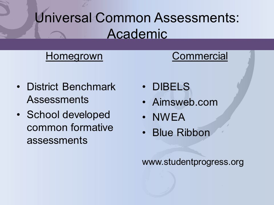 Universal Common Assessments: Academic Homegrown District Benchmark Assessments School developed common formative assessments Commercial DIBELS Aimsweb.com NWEA Blue Ribbon www.studentprogress.org