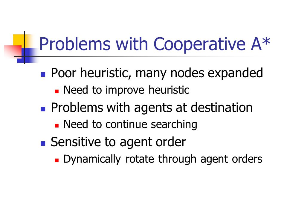 Problems with Cooperative A* Poor heuristic, many nodes expanded Need to improve heuristic Problems with agents at destination Need to continue searching Sensitive to agent order Dynamically rotate through agent orders