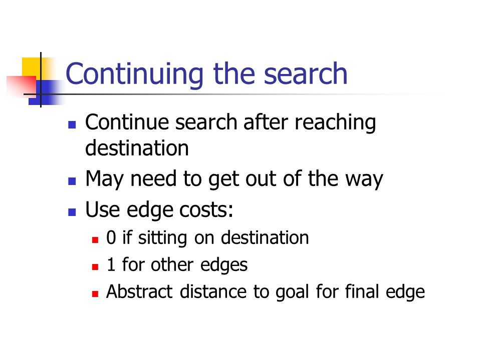 Continuing the search Continue search after reaching destination May need to get out of the way Use edge costs: 0 if sitting on destination 1 for other edges Abstract distance to goal for final edge