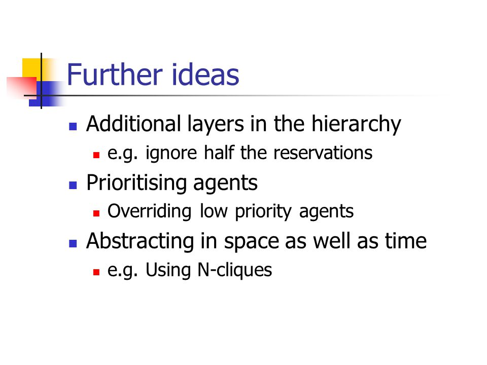 Further ideas Additional layers in the hierarchy e.g.