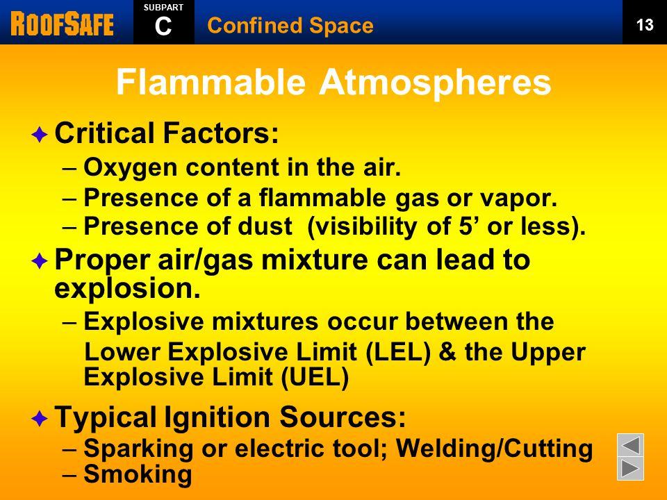 Flammable Atmospheres  Critical Factors: –Oxygen content in the air. –Presence of a flammable gas or vapor. –Presence of dust (visibility of 5' or le