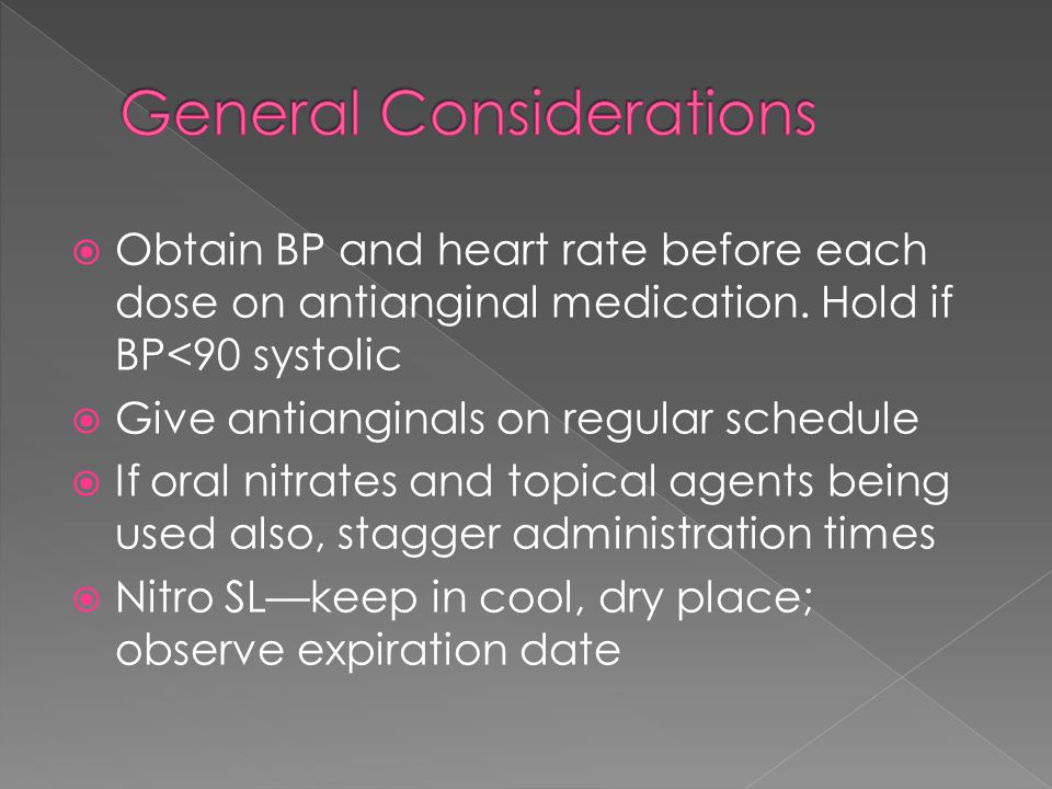  Obtain BP and heart rate before each dose on antianginal medication.