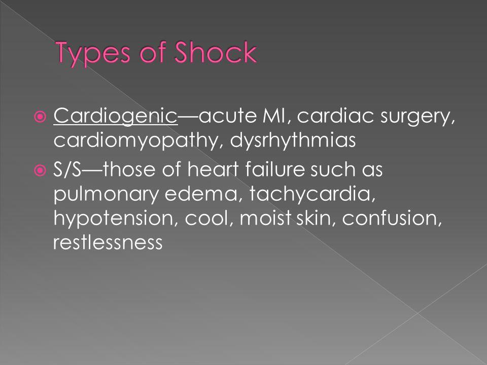  Cardiogenic—acute MI, cardiac surgery, cardiomyopathy, dysrhythmias  S/S—those of heart failure such as pulmonary edema, tachycardia, hypotension, cool, moist skin, confusion, restlessness
