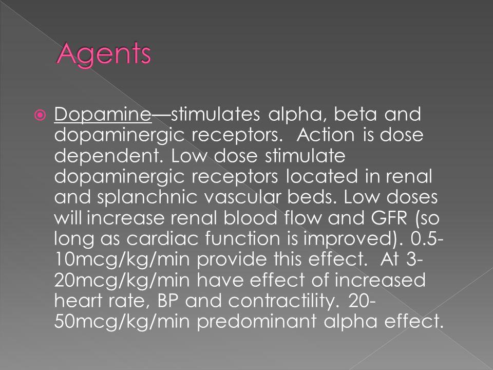  Dopamine—stimulates alpha, beta and dopaminergic receptors.