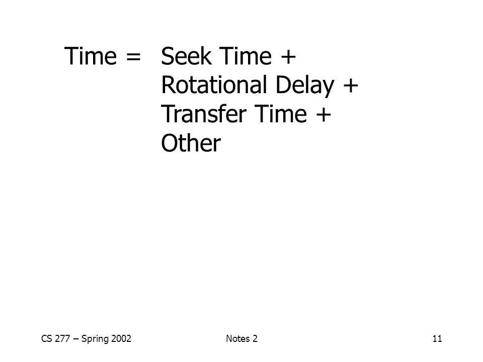 CS 277 – Spring 2002Notes 211 Time = Seek Time + Rotational Delay + Transfer Time + Other