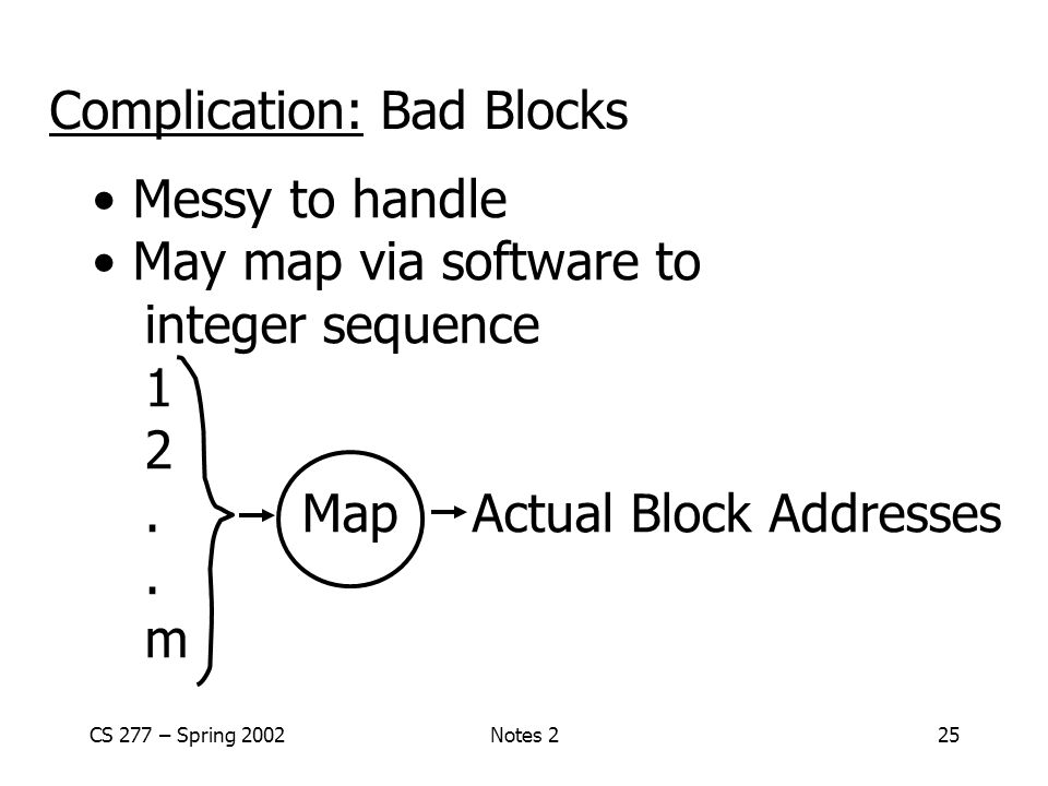 CS 277 – Spring 2002Notes 225 Complication: Bad Blocks Messy to handle May map via software to integer sequence 1 2.Map Actual Block Addresses.