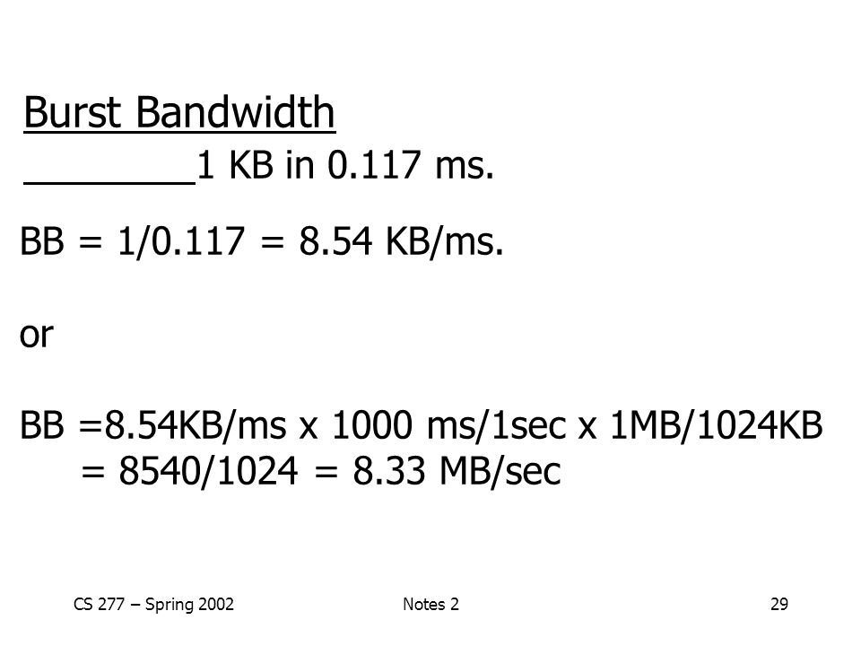 CS 277 – Spring 2002Notes 229 Burst Bandwidth 1 KB in 0.117 ms.