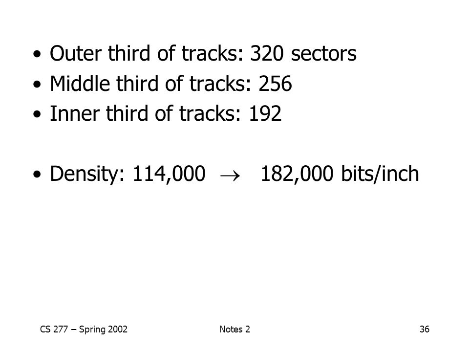 CS 277 – Spring 2002Notes 236 Outer third of tracks: 320 sectors Middle third of tracks: 256 Inner third of tracks: 192 Density: 114,000  182,000 bits/inch