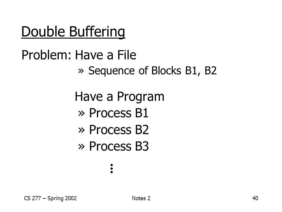 CS 277 – Spring 2002Notes 240 Double Buffering Problem: Have a File » Sequence of Blocks B1, B2 Have a Program » Process B1 » Process B2 » Process B3...