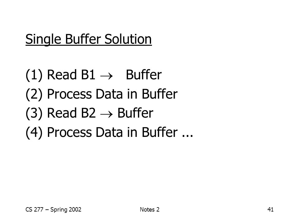 CS 277 – Spring 2002Notes 241 Single Buffer Solution (1) Read B1  Buffer (2) Process Data in Buffer (3) Read B2  Buffer (4) Process Data in Buffer...