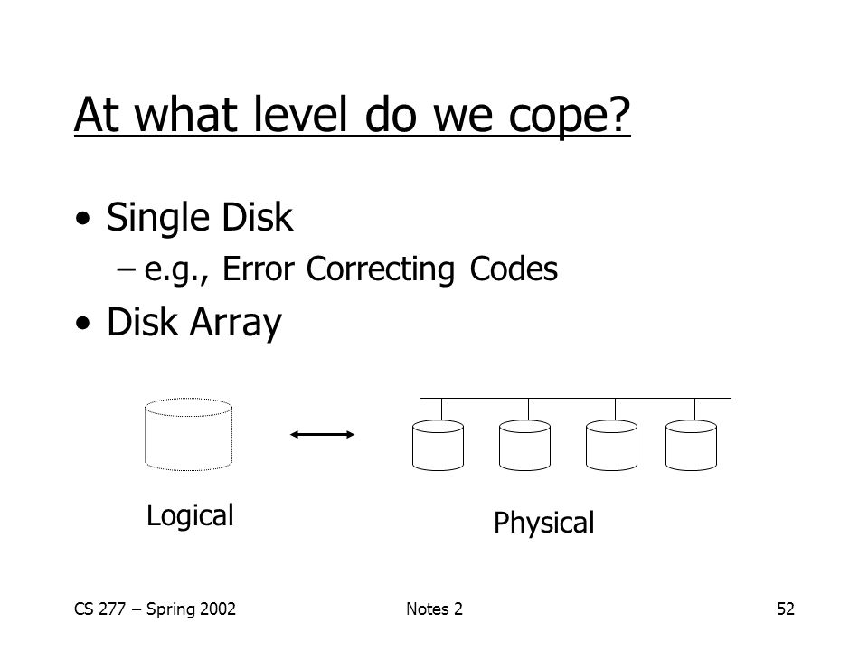 CS 277 – Spring 2002Notes 252 At what level do we cope.