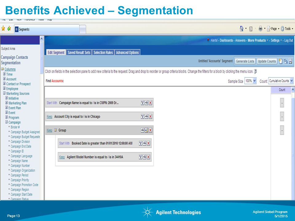 Benefits Achieved – Segmentation Page 13 Agilent Siebel Program 5/1/2015
