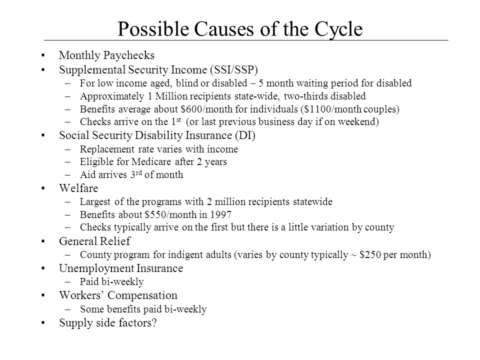 Possible Causes of the Cycle Monthly Paychecks Supplemental Security Income (SSI/SSP) –For low income aged, blind or disabled – 5 month waiting period for disabled –Approximately 1 Million recipients state-wide, two-thirds disabled –Benefits average about $600/month for individuals ($1100/month couples) –Checks arrive on the 1 st (or last previous business day if on weekend) Social Security Disability Insurance (DI) –Replacement rate varies with income –Eligible for Medicare after 2 years –Aid arrives 3 rd of month Welfare –Largest of the programs with 2 million recipients statewide –Benefits about $550/month in 1997 –Checks typically arrive on the first but there is a little variation by county General Relief –County program for indigent adults (varies by county typically ~ $250 per month) Unemployment Insurance –Paid bi-weekly Workers' Compensation –Some benefits paid bi-weekly Supply side factors