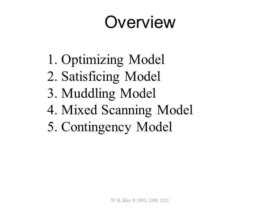 Overview W. K. Hoy © 2003, 2008, 2011 1.Optimizing Model 2.Satisficing Model 3.Muddling Model 4.Mixed Scanning Model 5.Contingency Model