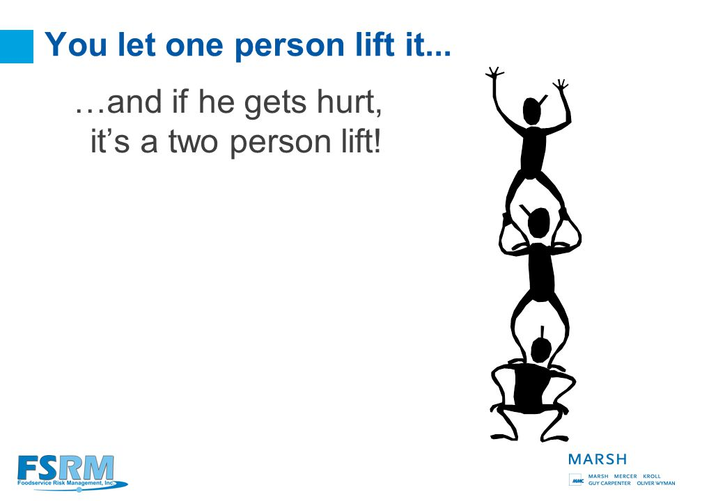 29 In most industries how do you determine if a lift is a one person or two person lift? Prepare and Compensation: Get help when needed!