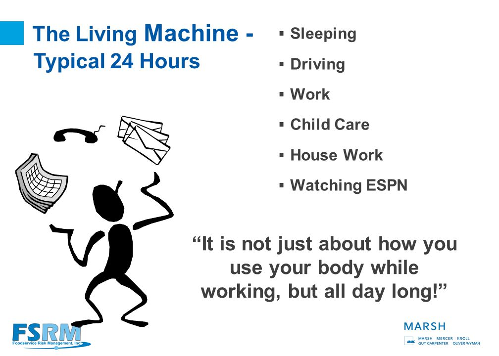 6 The Living Machine Most work habits develop at an age when our bodies are virtually indestructible (or so we sometimes believe)!