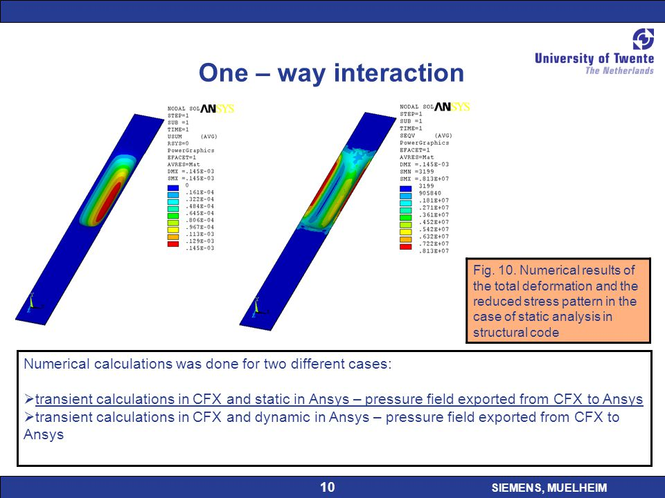 SIEMENS, MUELHEIM 10 One – way interaction Fig. 10. Numerical results of the total deformation and the reduced stress pattern in the case of static an