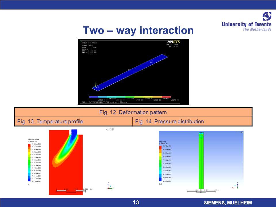 SIEMENS, MUELHEIM 13 Two – way interaction Fig. 12. Deformation pattern Fig. 13. Temperature profileFig. 14. Pressure distribution