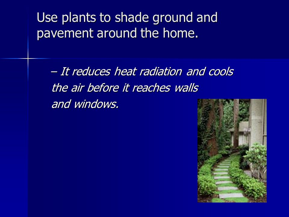 Use plants to shade ground and pavement around the home.