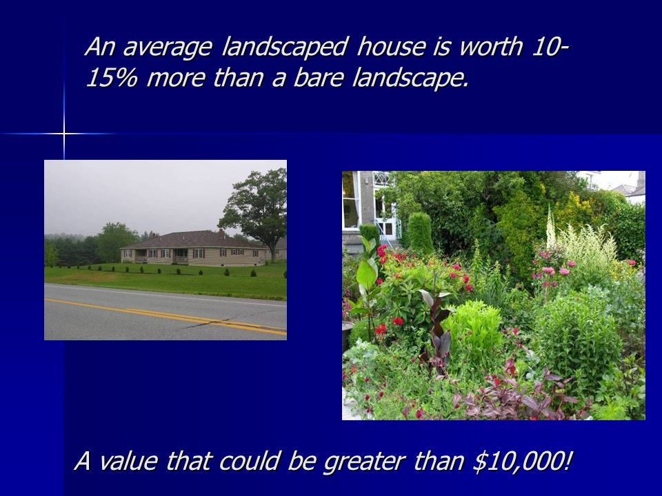 An average landscaped house is worth 10- 15% more than a bare landscape. A value that could be greater than $10,000!