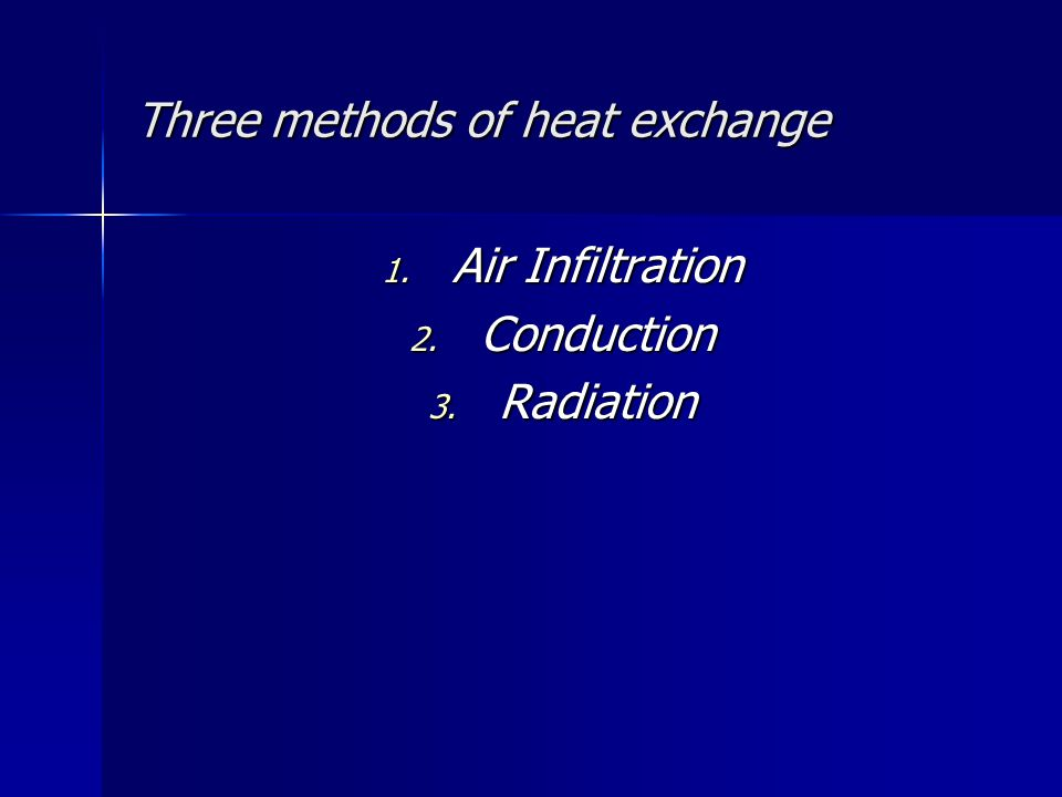 Three methods of heat exchange 1. Air Infiltration 2. Conduction 3. Radiation